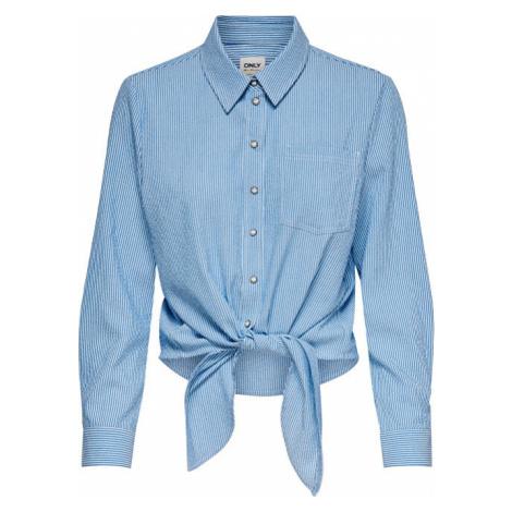 ONLY Dámska košeľa ONLLECEY LS STRIPE KNOT DNM SHIRT Cloud Dancer MEDIUM BLUE