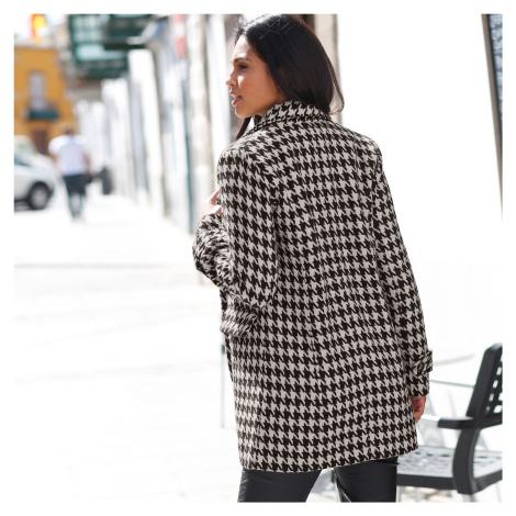 Blancheporte Kabát so vzorom kohútej stopy čierna/biela
