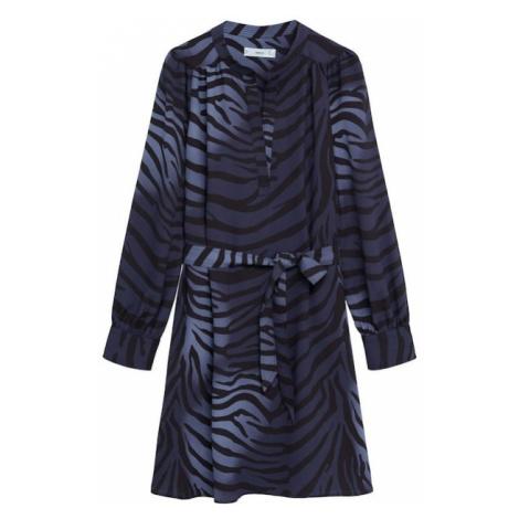 MANGO Košeľové šaty  modrá / čierna
