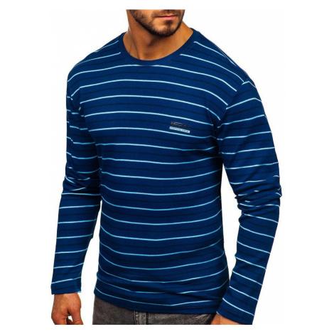 Modré pánske prúžkované tričko s dlhými rukávmi Bolf 1519 COMEOR