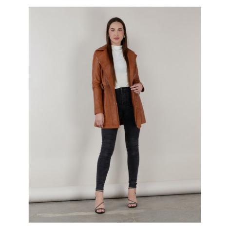 Dámsky koňakový kožený kabát KARA