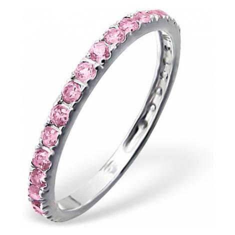 OLIVIE Strieborný prsteň so zirkónmi PINK 0659