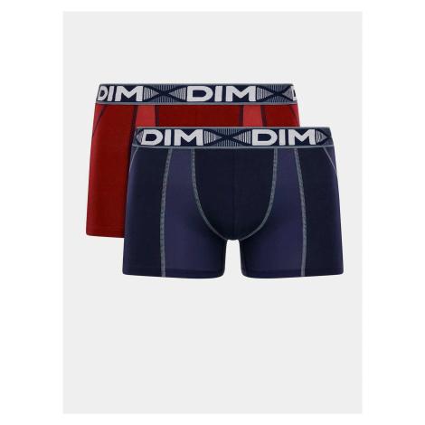 DIM COTTON 3D FLEX AIR BOXER 2x - Pánske boxerky 2ks - tmavočervená - tmavomodrá
