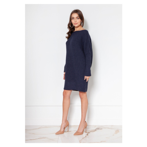 Lanti Woman's Sweater Swe135 Navy Blue