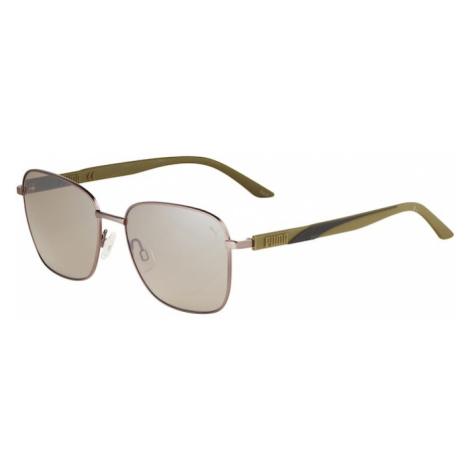 PUMA Slnečné okuliare  zelená / hnedá
