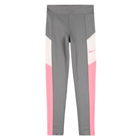 NIKE Športové nohavice 'TROPHY'  tmavosivá / biela / ružová