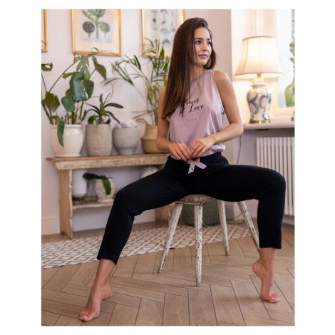 Dámske pyžamo Sensis Power SL Černo-růžová