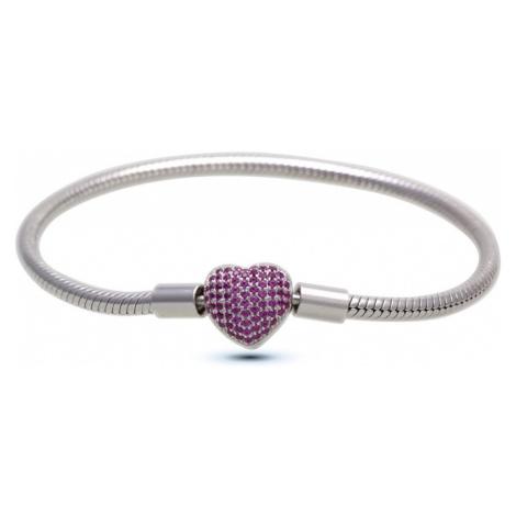 Infinity Love Strieborný náramok s fialovým srdiečkom HC-374-kompatibilný s Pandora cm
