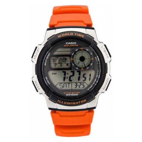 Oranžovo-strieborné pánske hodinky v športovom prevedení Casio AE-1000W 4BVDF