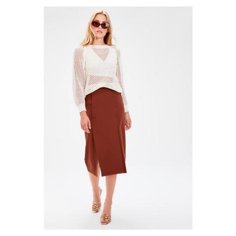 Trendyol Black Slit Detailed Skirt Brown