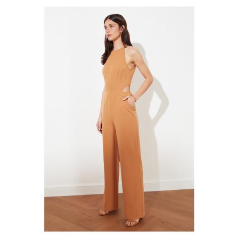 Trendyol Camel Waist Decolletage Jumpsuit