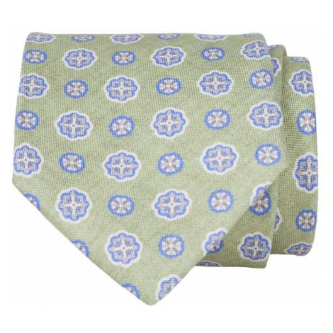 John & Paul Zelená hodvábna kravata s modrými kvetmi John & Paul