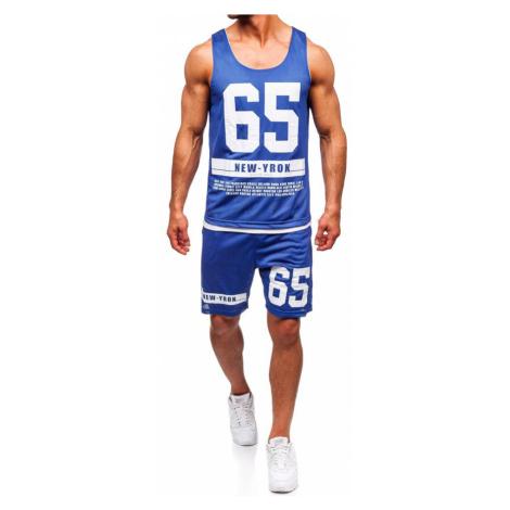 Modrý pánsky komplet: tričko + kraťasy  BOLF 100777 J.STYLE