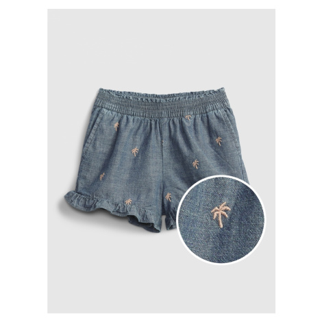 GAP Children's shorts chambray ruffle pull-on shorts