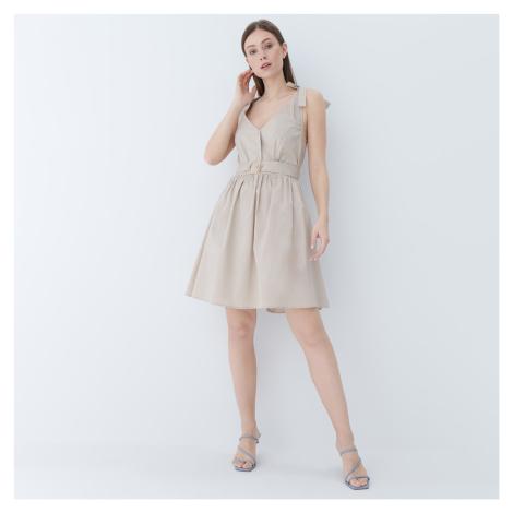 Mohito - Áčkové šaty s opaskom - Béžová