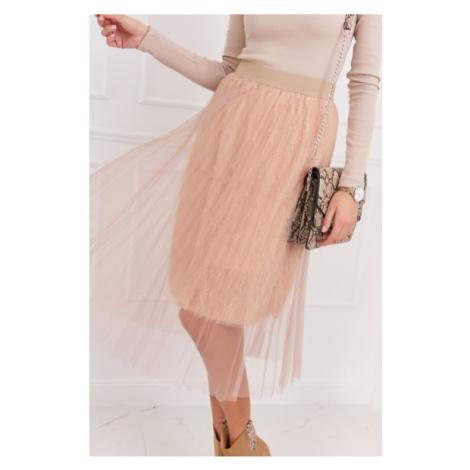 Pôsobivá tylová sukňa, béžová FASARDI