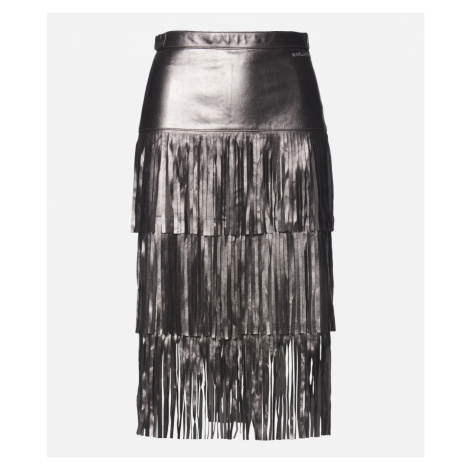 Sukňa Karl Lagerfeld Faux Leather Fringe Skirt