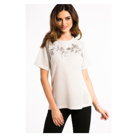 Nádherné, bielo-zlaté tričko s nášivkami FASARDI
