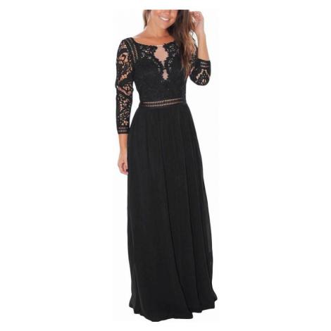 Dlhé dámske čierne šaty s čipkou Marissa