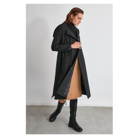 Trendyol Black Waist Shrink Hooded Trench Coat