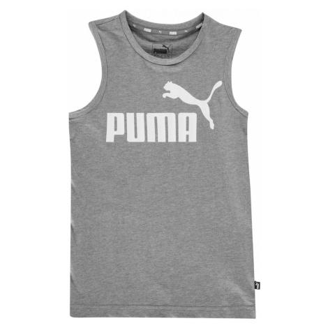 Puma No1 Sleeveless T Shirt Junior Med Grey