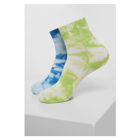 Tie Dye Socks Short 2-Pack - green/blue Urban Classics