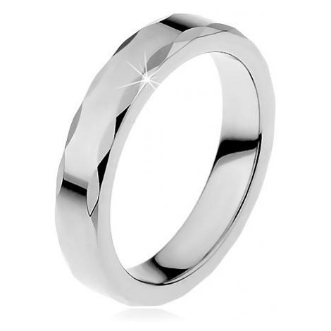 Dámsky wolfrámový prsteň so stužkovým okrajom - Veľkosť: 67 mm