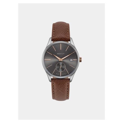 Dámske hodinky s hnedým koženým remienkom GANT