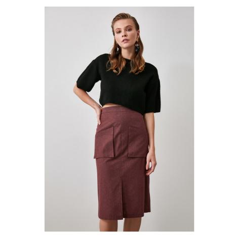 Trendyol Burgundy Pocket Detailed Skirt