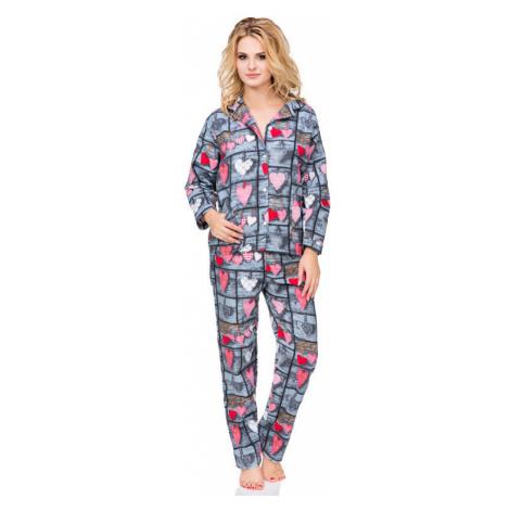 Flanelové kockované pyžamo Wally s gombíkmi Kuba