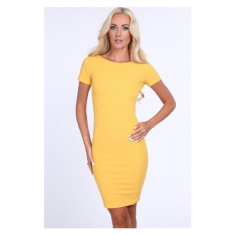 Žlté dámske šaty so zipsom na zadnej strane FASARDI