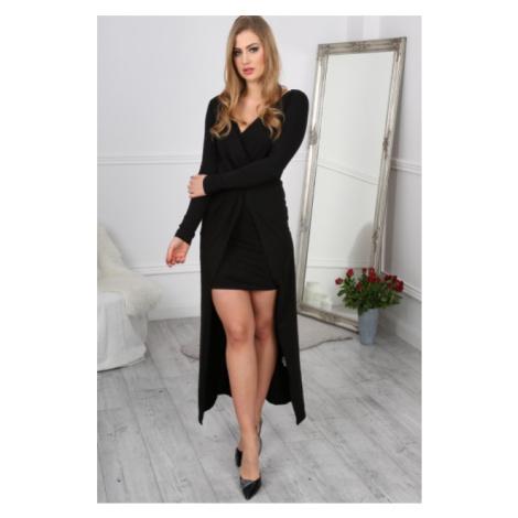Nádherné, dlhé, elegantné asymetrické čierne šaty FASARDI