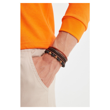 Trendyol Brown Men's 2-Pack Genuine Leather and Natural Stone Combined Bijouterie Bracelet