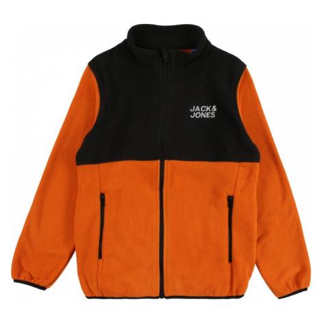 Jack & Jones Junior Flisová bunda 'HYPE'  tmavooranžová / čierna / biela