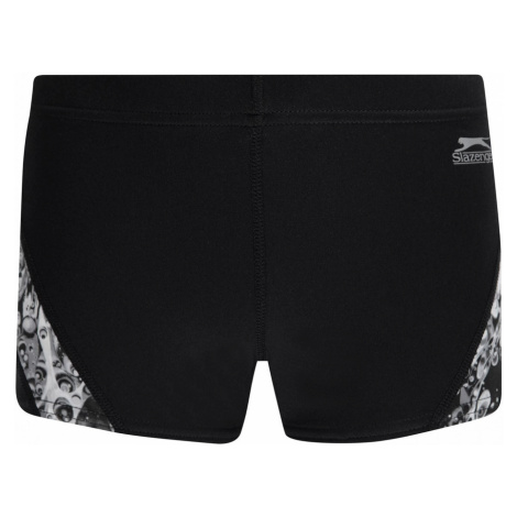 Slazenger Curve Panel Boxer Swim Shorts Junior Boys Black/Grey