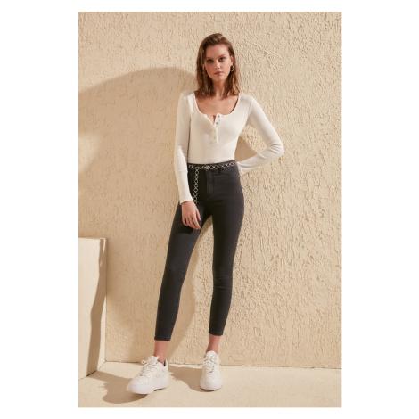 Trendyol Blue High Waist Jegging Jeans Anthracite