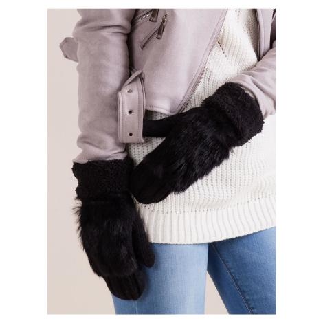 Dámske čierne rukavice s kožušinou