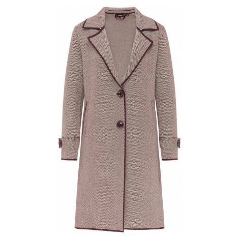 usha BLACK LABEL Pletený kabát  vínovo červená / biela