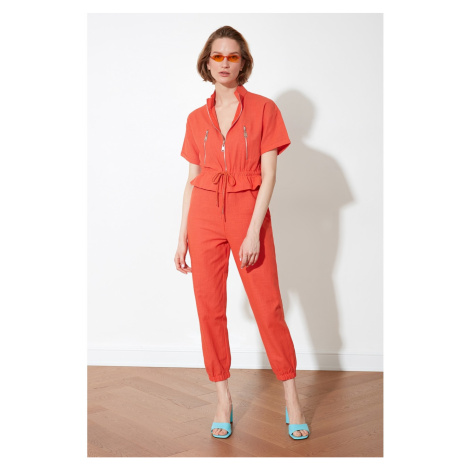 Trendyol Orange Zipper Detailed Overalls