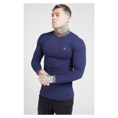 SIK SILK Pánske tričko s dlhým rukávom SikSilk L/S Chain Rib Collar Cuff tmavomodré