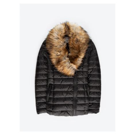GATE Prešívaná vatovaná bunda s odopínateľným golierom z umelej kožušiny