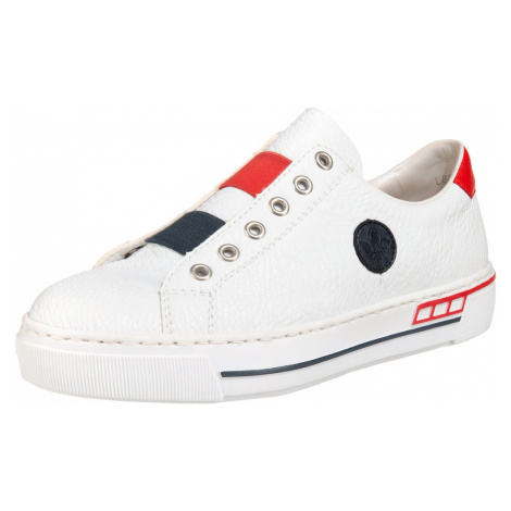 RIEKER Slip-on obuv  biela / červená / tmavomodrá