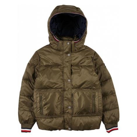 TOMMY HILFIGER Zimná bunda  olivová / biela / červená