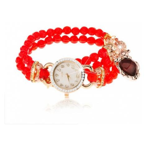 Náramkové hodinky, korálkový červený náramok, srdiečko, ciferník so zirkónmi