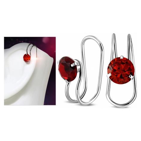 Falošný piercing do ucha, oceľ 316L, strieborná farba, okrúhly červený zirkón