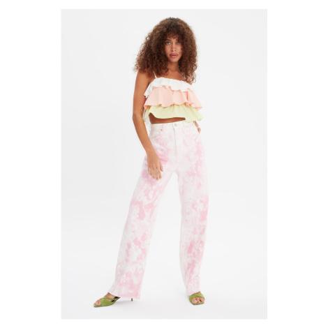 Trendyol Pink Tie-Dye Washed High Waist 90's Wide Leg Jeans