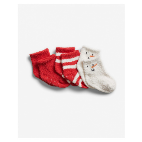 GAP Ponožky 3 páry detské Červená Biela