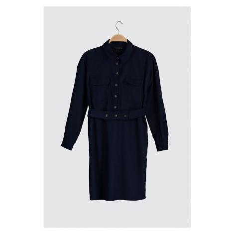 Trendyol Indigo Pocket Detailed Velvet Dress