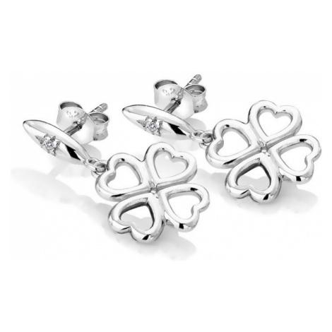 Hot Diamonds Strieborné čtyřlístkové náušnice s diamantmi Lucky in Love DE634