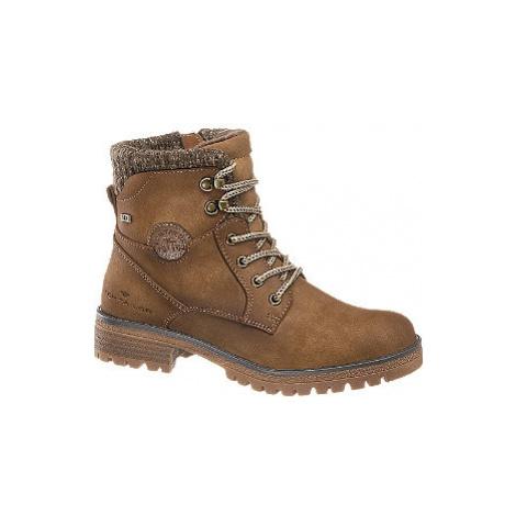 Hnedá šnurovacia obuv Tom Tailor s TEX membránou